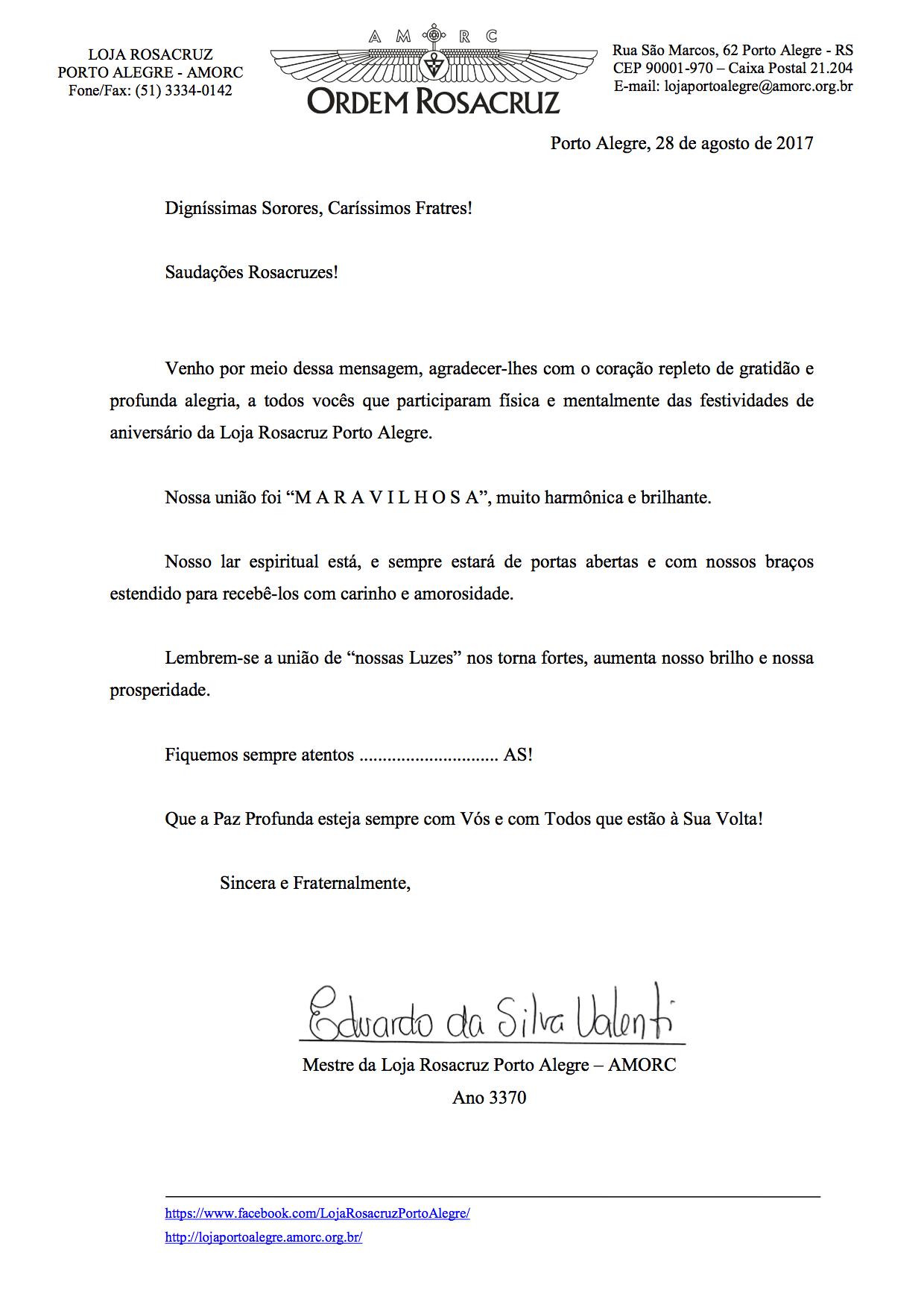 Carta Membros Porto Alegre Assinada