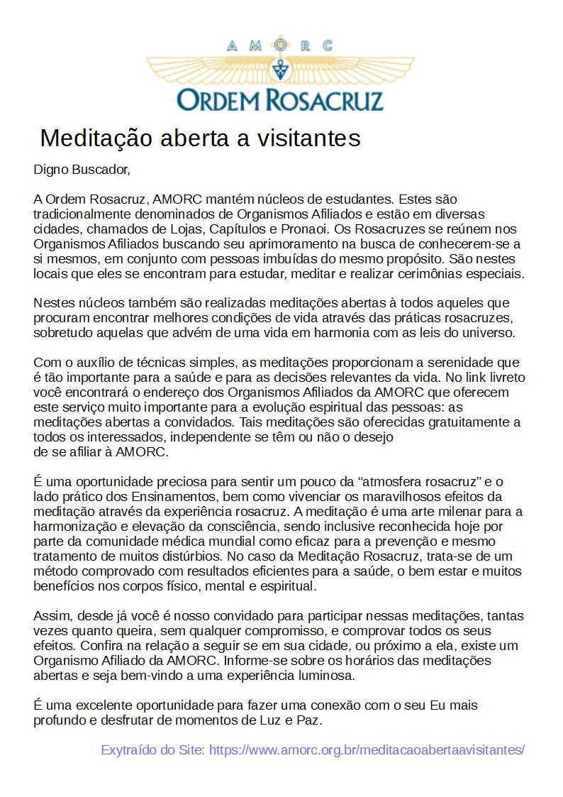 MEDITAÇÃO ABERTA - texto da GLP